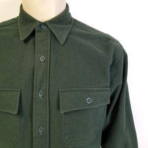 LL BEAN Cotton Flannel Chamois Cloth Shirt Green